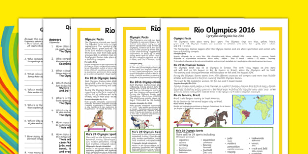 KS1 Rio Olympics 2016 Differentiated Reading Comprehension Activity Polish Translation - polish, Olympic Games 2016, KS1, olympics, Rio, Brazil, reading comprehension, questions