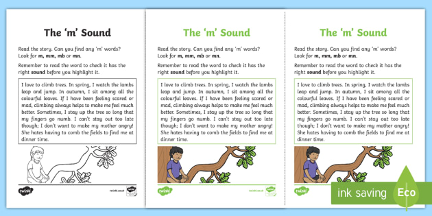 Northern Ireland Linguistic Phonics Stage 5 and 6 Phase 3b, 'm' Sound Activity Sheet - Linguistic Phonics, Phase 3b, Northern Ireland, 'm' sound, sound search, text, Worksheet
