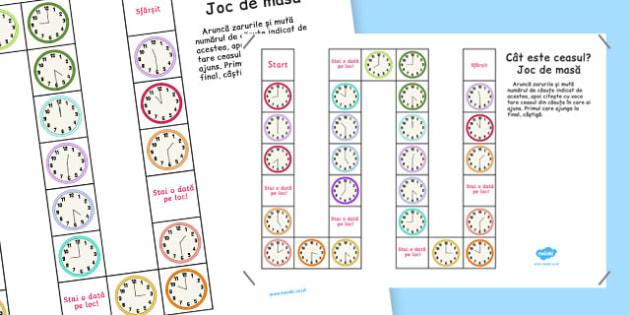 Cât este ceasul? - Joc de masă - Cât este ceasul? -La ora fixă și la și jumătate, Joc de masă - unitati de masura, timp, jocuri, matematica, ceas, ora, ceasul, joc, materiale, materiale didactice, română, romana, material, material didactic