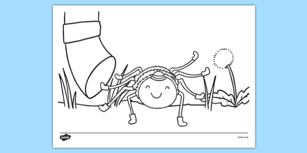 Incy Wincy Spider Scene Colouring Sheet - incy wincy spider, scene, colouring sheet, colour