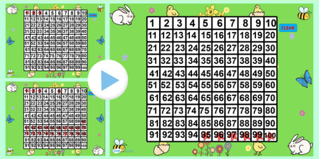 Spring Theme 100 Number Square PowerPoint - number square, number, square, powerpoint, powerpoint presentation, number square powerpoint, spring powerpoint number square, numeracy, maths, math, numbers, counting on, counting back, times tables, addit