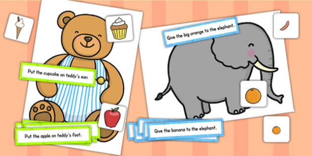 Elephant and Teddy Following Instructions Word Game 2ICW - games