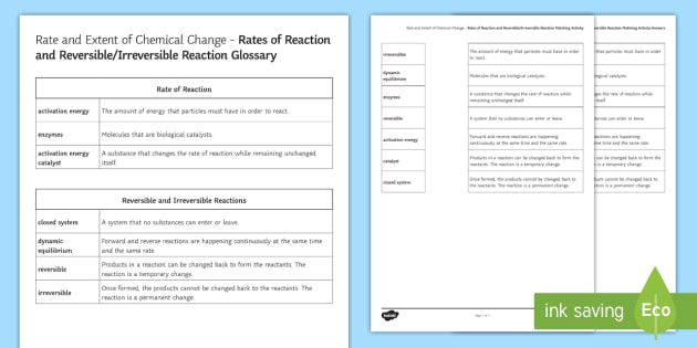 Rate and Extent of Chemical Change Glossary Activity - KS4 Glossary, Rate of Reaction, Reversible Reactions, Irreversible Reactions, Dynamic Equilibrium