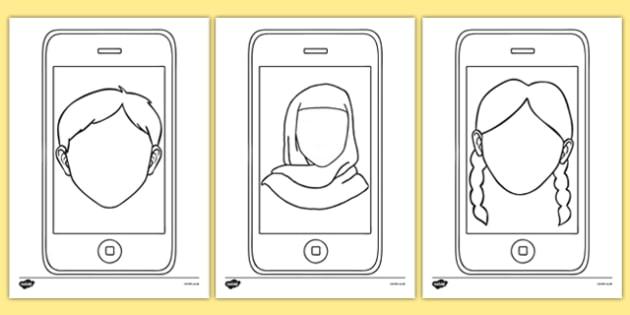 Blank Faces Selfie Activity Sheet Pack, worksheet