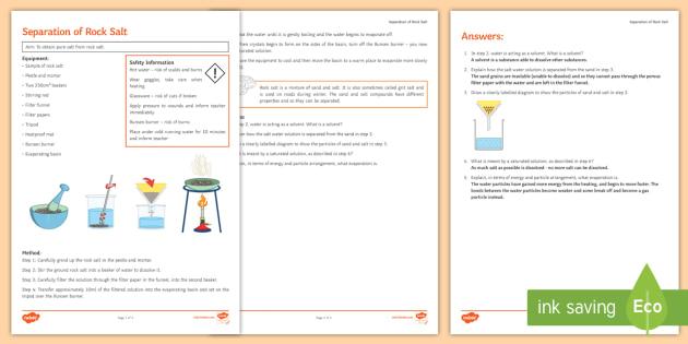 Separation of Rock Salt Investigation Instruction Sheet Print-Out - Investigation Help Sheet, science practical, method, instructions, rock salt, soluble, insoluble, se