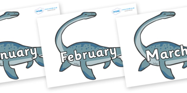 Months of the Year on Plesiosaur - Months of the Year, Months poster, Months display, display, poster, frieze, Months, month, January, February, March, April, May, June, July, August, September