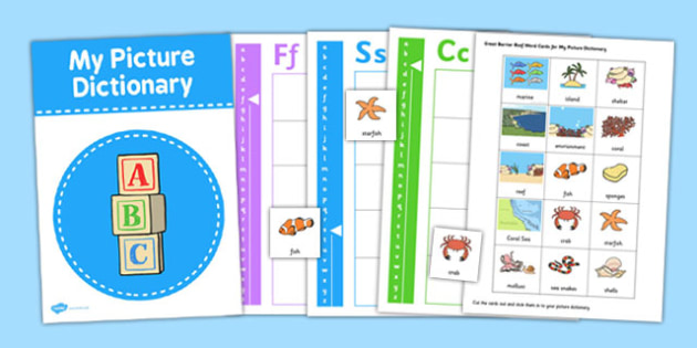 My Great Barrier Reef Picture Dictionary Word Cards - australia