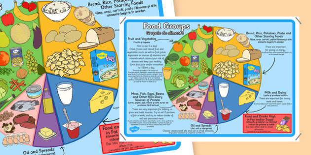 Large Food Groups Poster Romanian Translation - romanian, food groups, poster, display poster, display