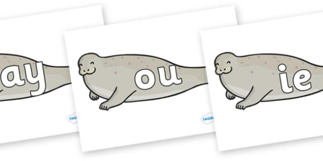Phase 5 Phonemes on Seals - Phonemes, phoneme, Phase 5, Phase five, Foundation, Literacy, Letters and Sounds, DfES, display