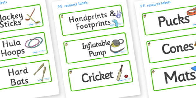 Acorn Themed Editable PE Resource Labels - Themed PE label, PE equipment, PE, physical education, PE cupboard, PE, physical development, quoits, cones, bats, balls, Resource Label, Editable Labels, KS1 Labels, Foundation Labels, Foundation Stage Labe
