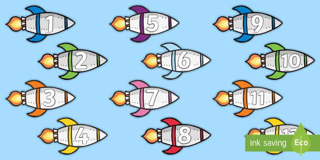 Numbers 1-30 Rockets Cut-Outs - Numbers 1-20 on Rockets Cut Outs - numbers, 1-20, rockets, cut outs, space,numbes,spce, soace, spcae