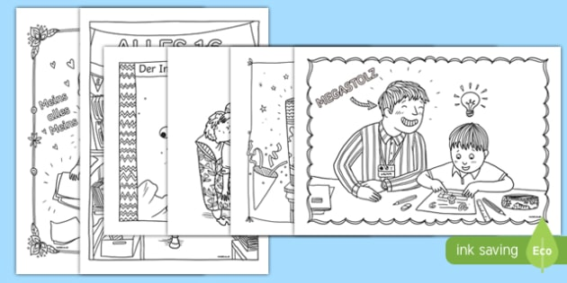 Funny Teaching Mindfulness Colouring Pages German - german, colouring, you know you're a teacher when, teacher jokes, mindfulness, mindful, colouring, colours, relax, destress, holidays, glue stick, ill, pound shop, lol, jokes