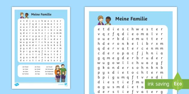Meine Familie Word Search German - german, my family, wordsearch, word search, family
