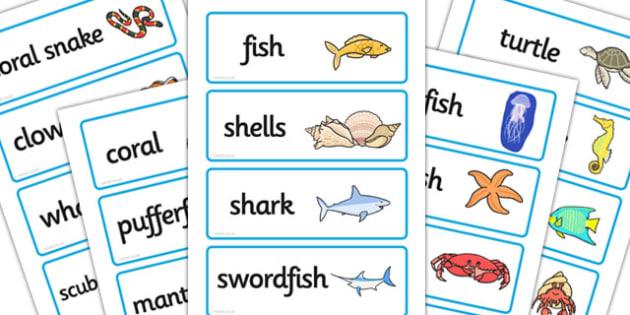 The Aquarium Role Play Word Cards-aquarium, role play, word cards, role play word cards, role play cards, aquarium role play, name cards
