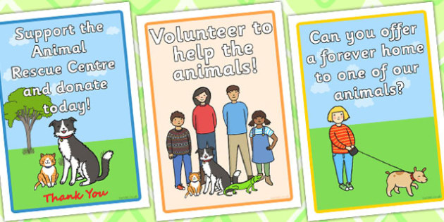 Animal Rescue Centre Role Play Display Posters - animal, roleplay