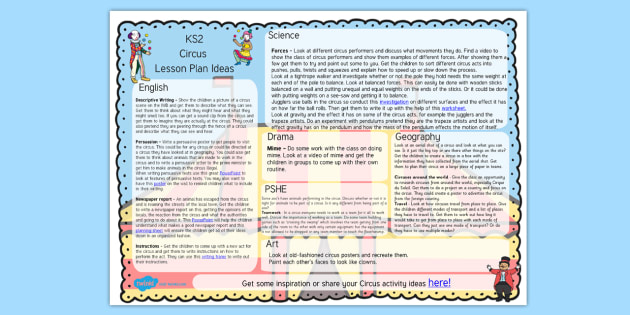Circus Lesson Plan Ideas KS2 - circus, lesson plan, lessons, KS2