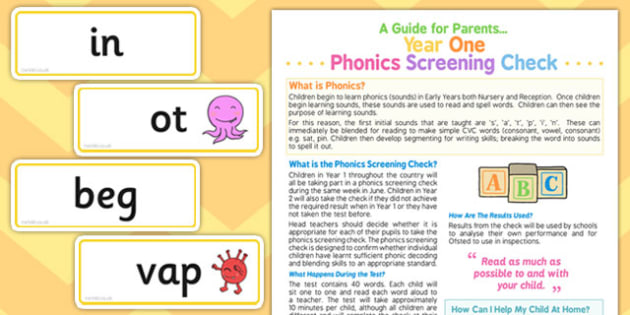 Year 1 Phonics Screening Check Parents Guide and Card Pack - pack