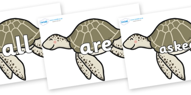 Tricky Words on Turtles - Tricky words, DfES Letters and Sounds, Letters and sounds, display, words