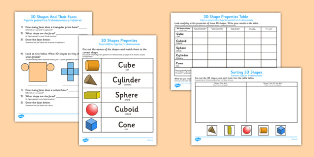 Properties of 3D Shapes Activity Sheets Romanian Translation - romanian, 3d, shapes, activity, worksheet