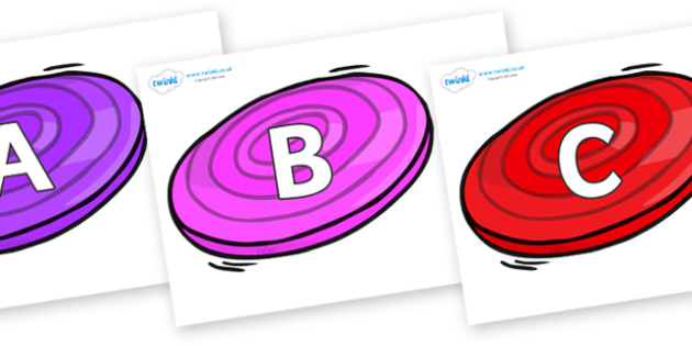 A-Z Alphabet on Frisbees - A-Z, A4, display, Alphabet frieze, Display letters, Letter posters, A-Z letters, Alphabet flashcards