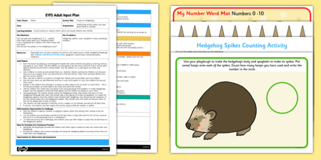Hoops on Hedgehogs EYFS Adult Input Plan and Resource Pack - hedgehog, spikes, counting, playdough, number, maths, spaghetti, hoops