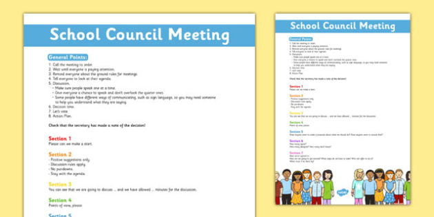 School Council Meeting Prompt Poster - school council, meeting, prompt, poster, display