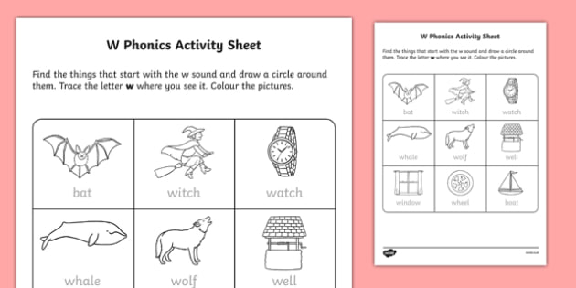 w Phonics Activity Sheet-Irish, worksheet