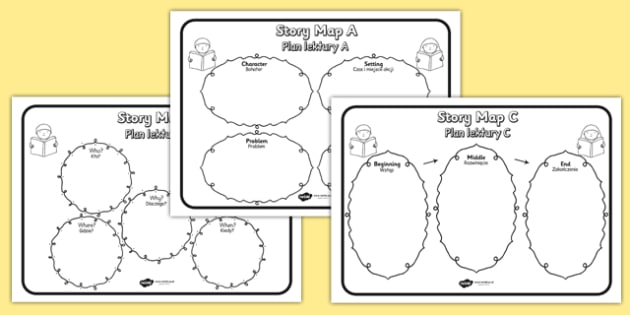 Story Map Worksheets Pack Polish Translation - polish, story map, worksheets, story, map