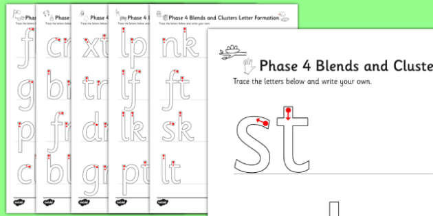 Phase 4 Blends and Clusters Formation Worksheets - phase 4, letters, sounds, formation