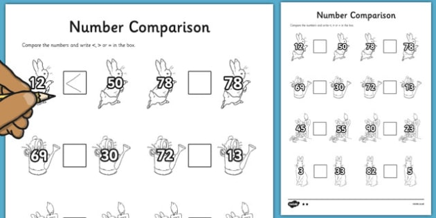 The Tale of Peter Rabbit Number Comparison Worksheets - peter rabbit