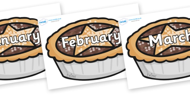 Months of the Year on Mince Pies - Months of the Year, Months poster, Months display, display, poster, frieze, Months, month, January, February, March, April, May, June, July, August, September
