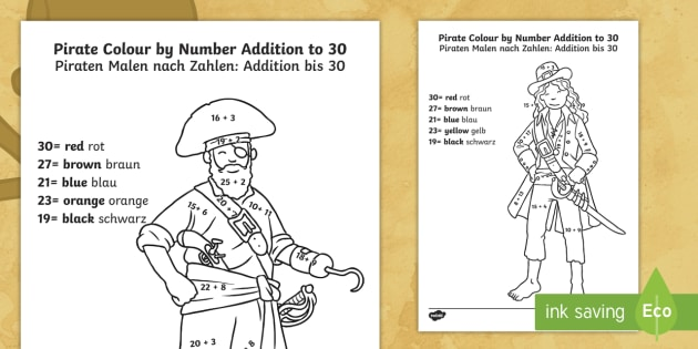 Pirate Colouring Sheets Twinkl : Pirate addition to 30 colour by number english german