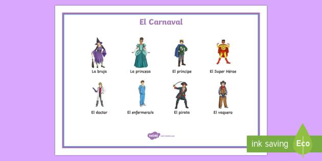 Carnival Costumes Word Mat - Carnival, Spanish, KS2, costumes, word, mat