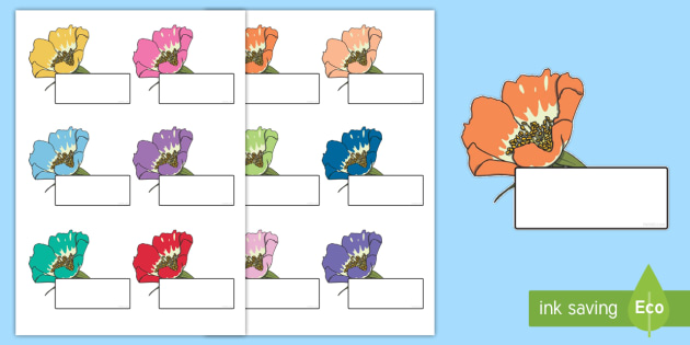 Editable Self Registration Labels (Flowers) - Self registration, register, editable, labels, registration, child name label, printable , flower, flowers, plants, leaves, petals, growth