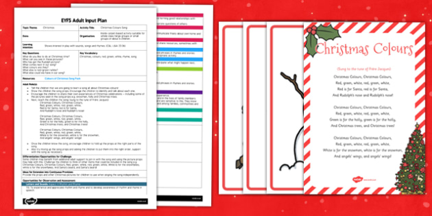 Colours of Christmas Song EYFS Adult Input Plan and Resource Pack