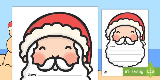 Brief aan Kersvader - Brief aan Kersvader, Kersvader, Kersfees, brief, skryf, skryf sjabloon, gesig, Santa, kersvader.