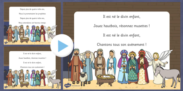 Paroles du chant de Noël Il est né le divin enfant PowerPoint French - french, christmas, carol, noel, lyrics, paroles