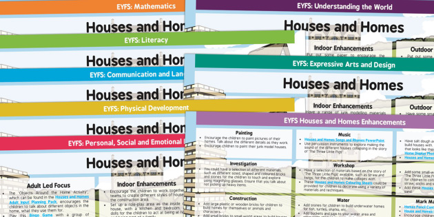 EYFS Houses and Homes Lesson Plan and Enhancement Ideas - houses and homes, lesson plan, lesson plan ideas, lesson ideas, lesson planning, teaching plan, EYFS, EYFS ideas, planning