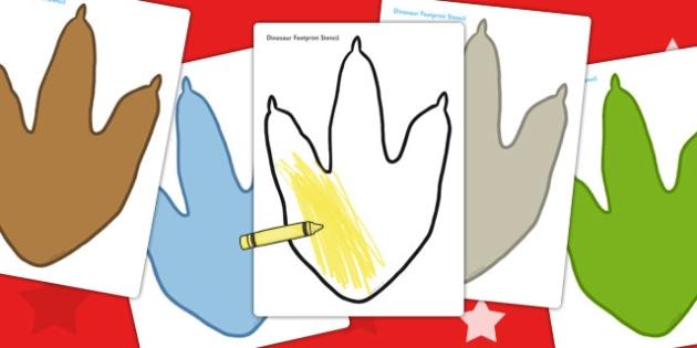 Dinosaur Footprint Stencil - dinosaur, footprint, stencil, colour