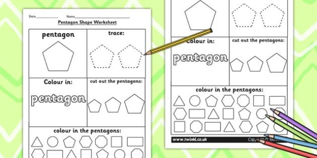 Pentagon Shape Worksheet - shapes, 2D shapes, tracing, numeracy