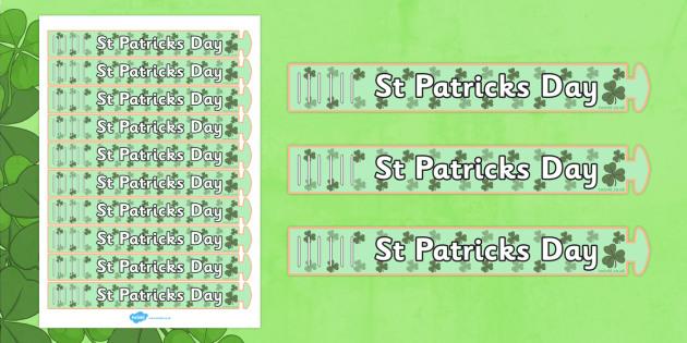 St Patricks Day Wristband - wristband, st patrick, day, paper