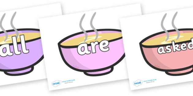 Tricky Words on Bowls - Tricky words, DfES Letters and Sounds, Letters and sounds, display, words