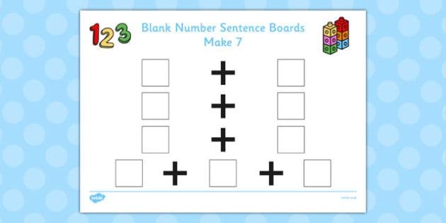 Blank Number Sentence Boards to 10 Make 7 - sentence boards
