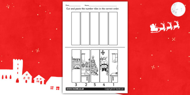 Christmas Themed Number Sequencing Puzzle - puzzle, number