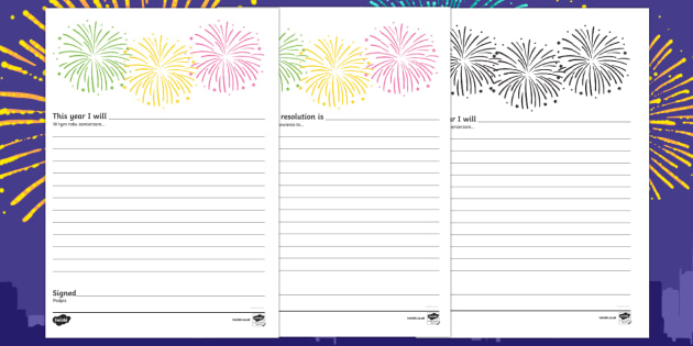 New years resolution pledge writing template English/Polish - New years, new years eve, happy new year, new years resolution, resolutions, writing frame,Polish-tr