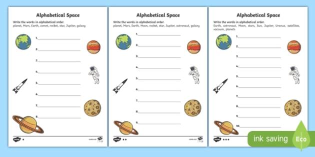 Space Alphabet Ordering Worksheet - space, alphabet, a-z, order