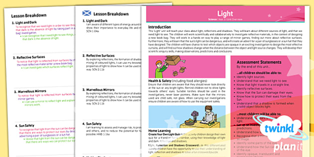 PlanIt - Science Year 3 - Light Planning Overview CfE - planit