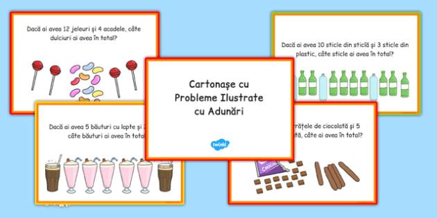 Probleme ilustrate cu adunări - Cartonașe