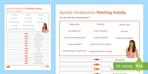 Introductions Lower Ability Matching Differentiated Activity Sheet Spanish, Reading, Comprehensions, introductions, introducing, yourself, worksheet, matching, differe