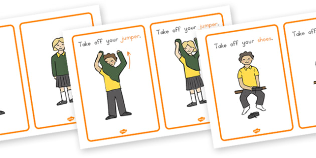 PE Changing Clothes Cards - PE, clothes, cards, rules, behaviour